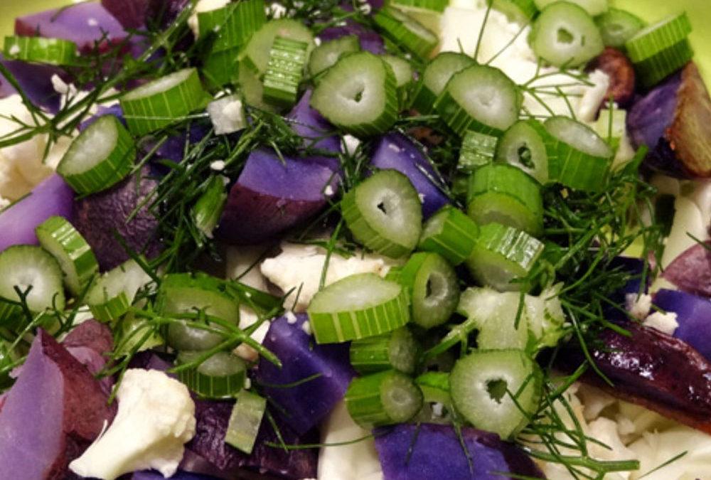 Blomkål med ovnbagte lilla kartofler